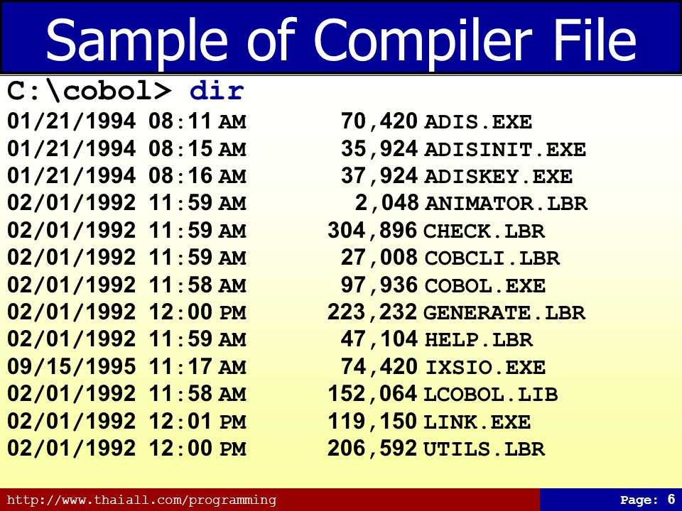Sample of Compiler File