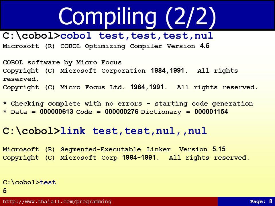 Compiling (2/2) C:\cobol>cobol test,test,test,nul