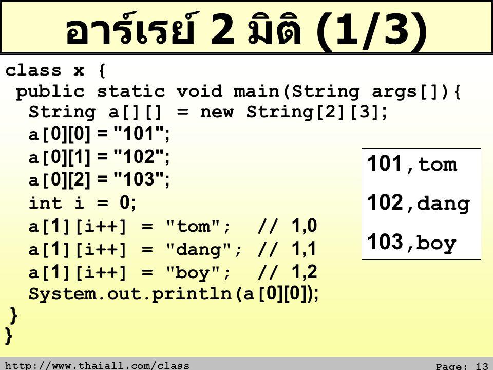 อาร์เรย์ 2 มิติ (1/3) 101,tom 102,dang 103,boy class x {