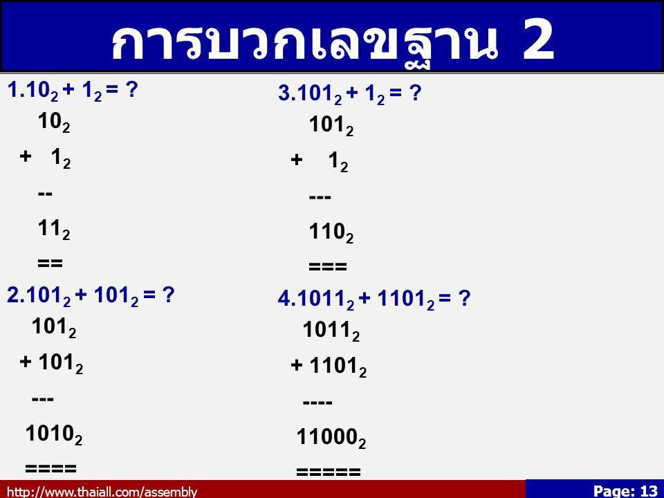 การบวกเลขฐาน 2 1.102 + 12 = 3.1012 + 12 = 102 1012 + 12 + 12 --