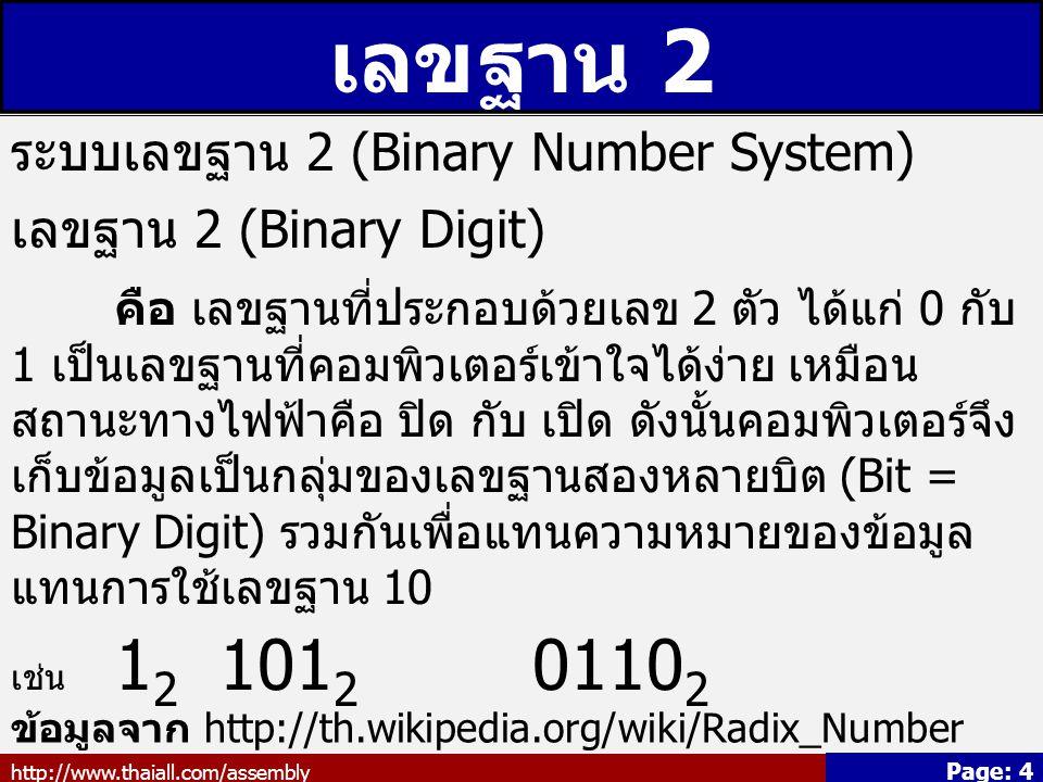 เลขฐาน 2 ระบบเลขฐาน 2 (Binary Number System) เลขฐาน 2 (Binary Digit)