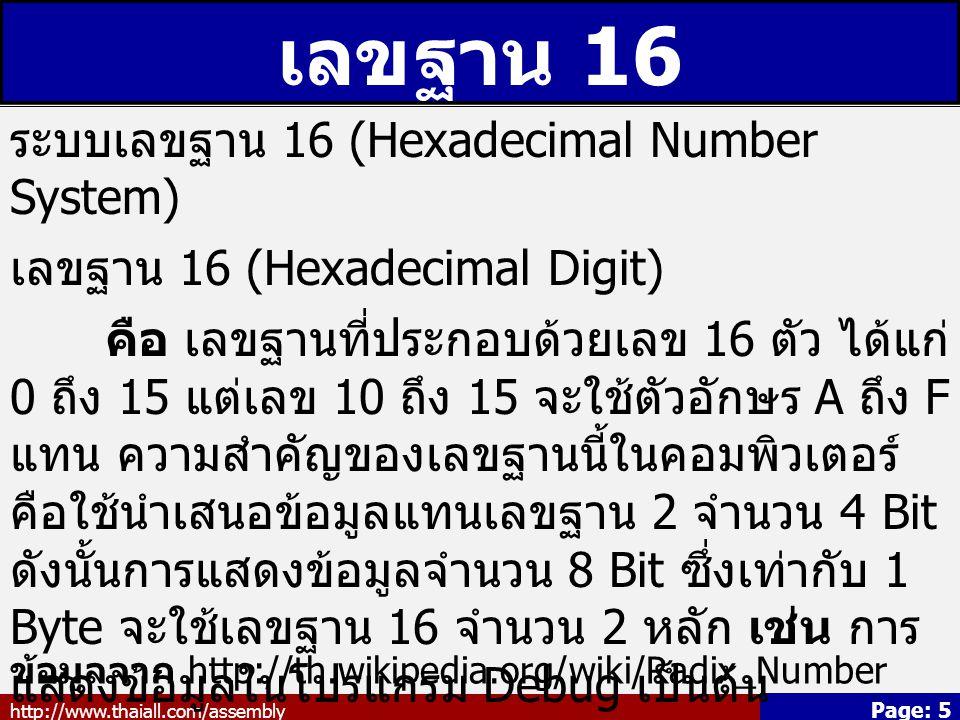 เลขฐาน 16 ระบบเลขฐาน 16 (Hexadecimal Number System)