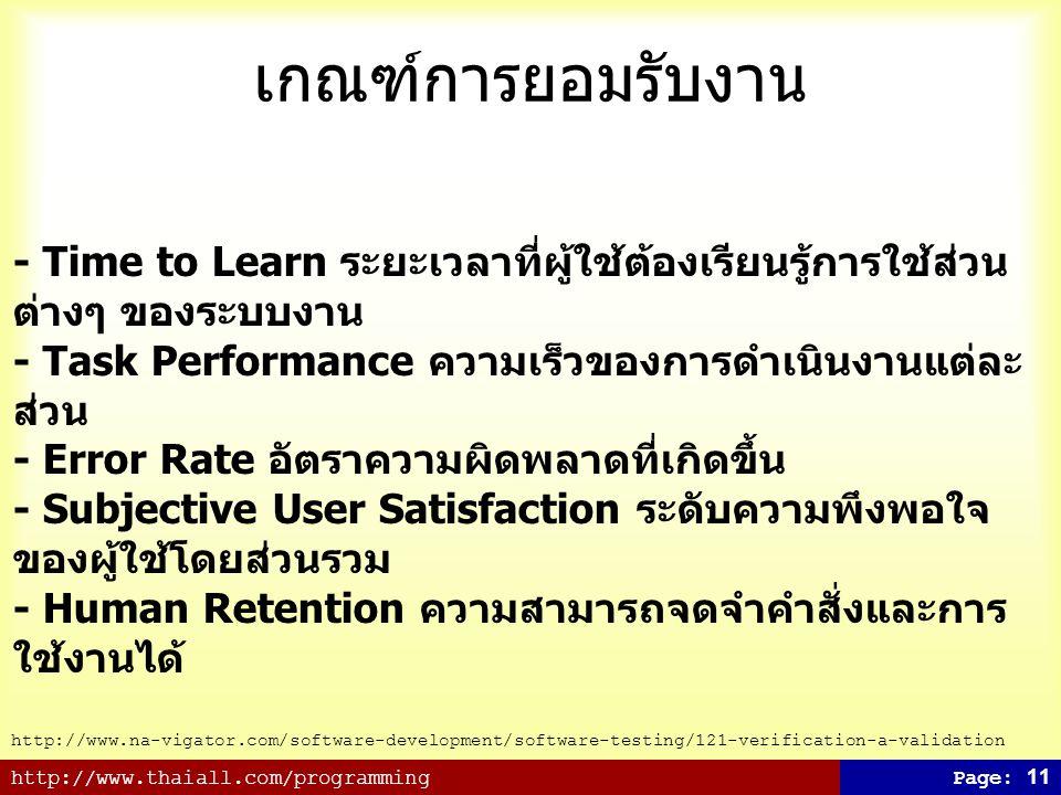 เกณฑ์การยอมรับงาน - Time to Learn ระยะเวลาที่ผู้ใช้ต้องเรียนรู้การใช้ส่วนต่างๆ ของระบบงาน. - Task Performance ความเร็วของการดำเนินงานแต่ละส่วน.