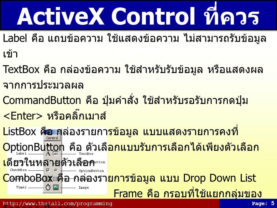 ActiveX Control ที่ควรรู้จัก