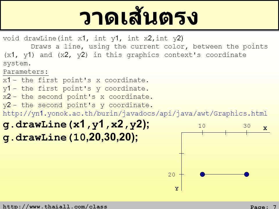 วาดเส้นตรง g.drawLine(x1,y1,x2,y2); g.drawLine(10,20,30,20);