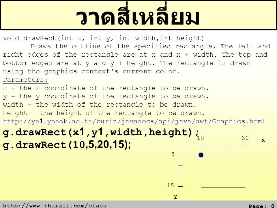 วาดสี่เหลี่ยม g.drawRect(x1,y1,width,height); g.drawRect(10,5,20,15);