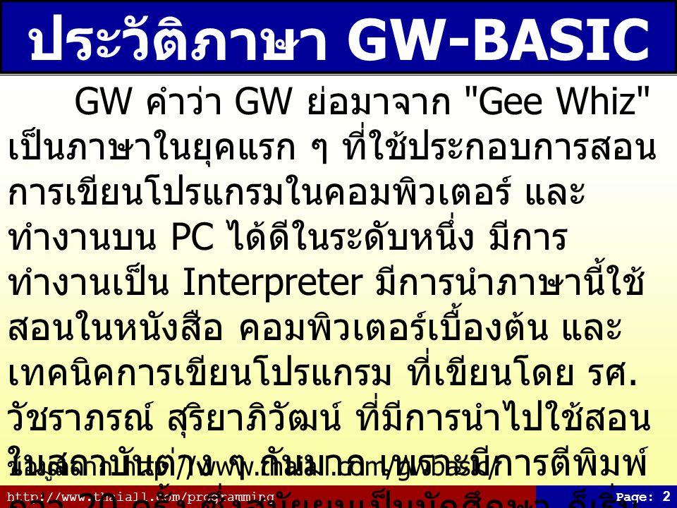 ประวัติภาษา GW-BASIC