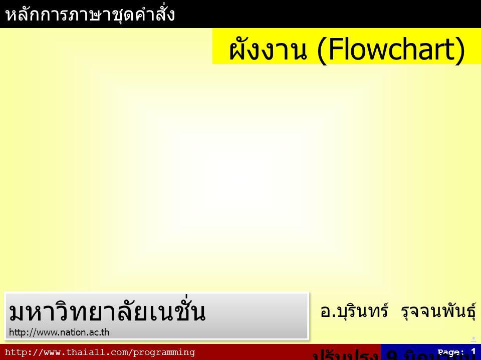 ผังงาน (Flowchart) มหาวิทยาลัยเนชั่น หลักการภาษาชุดคำสั่ง