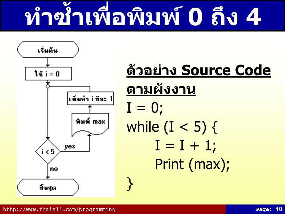 ทำซ้ำเพื่อพิมพ์ 0 ถึง 4 ตัวอย่าง Source Code ตามผังงาน I = 0;