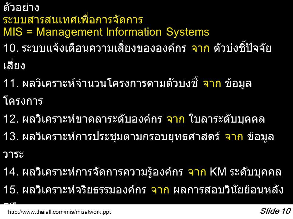 ระบบสารสนเทศเพื่อการจัดการ MIS = Management Information Systems