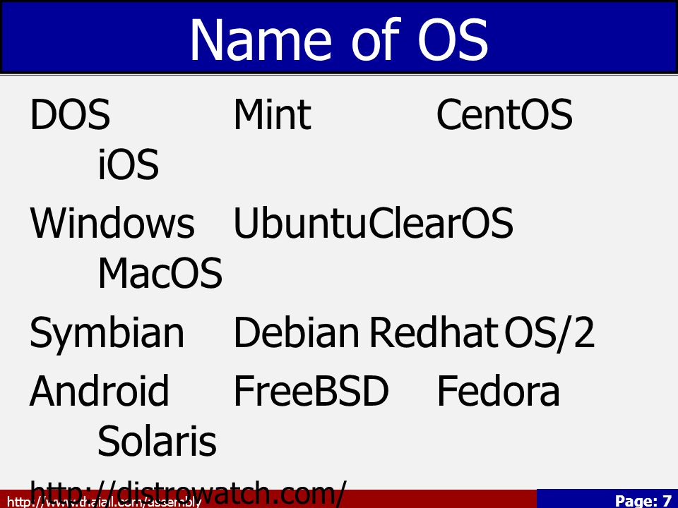 Name of OS DOS Mint CentOS iOS Windows Ubuntu ClearOS MacOS