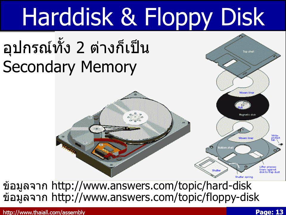Harddisk & Floppy Disk อุปกรณ์ทั้ง 2 ต่างก็เป็น Secondary Memory