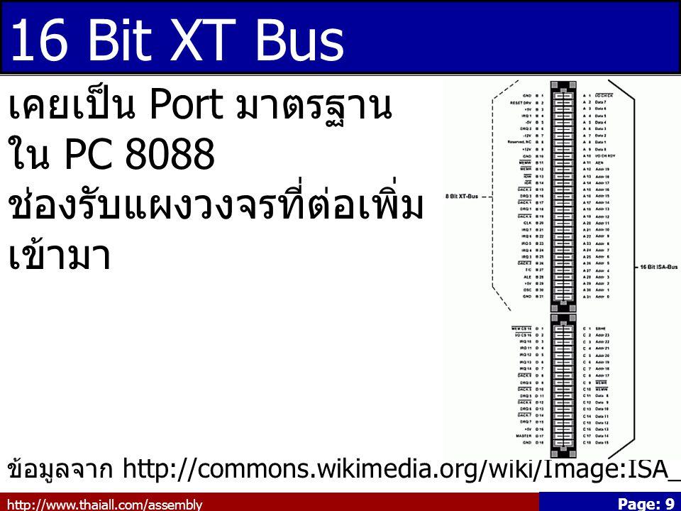 16 Bit XT Bus เคยเป็น Port มาตรฐานใน PC 8088 ช่องรับแผงวงจรที่ต่อเพิ่มเข้ามา.