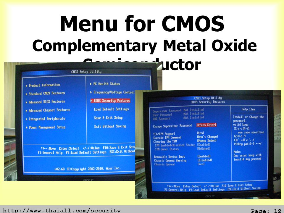 Menu for CMOS Complementary Metal Oxide Semiconductor
