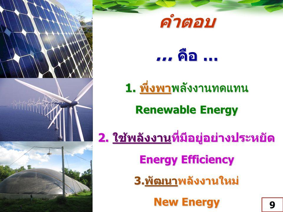 คำตอบ … คือ … 1. พึ่งพาพลังงานทดแทน Renewable Energy 2