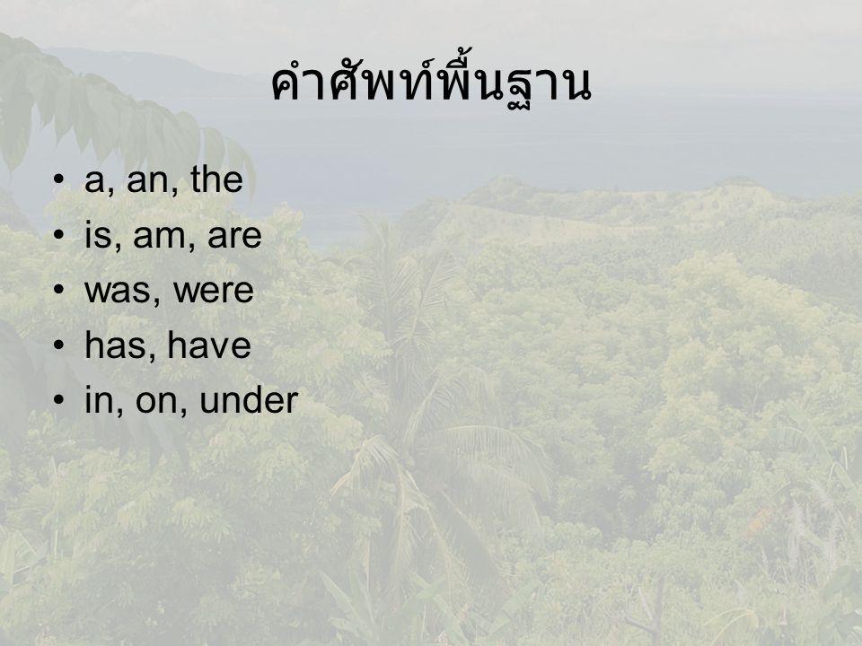 คำศัพท์พื้นฐาน a, an, the is, am, are was, were has, have