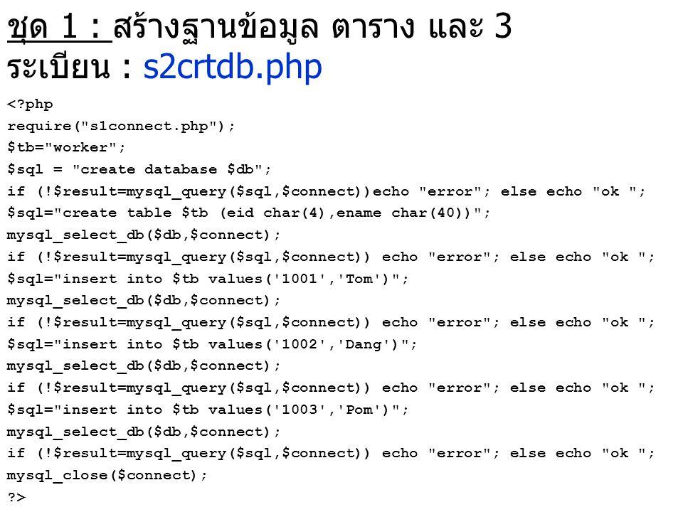 ชุด 1 : สร้างฐานข้อมูล ตาราง และ 3 ระเบียน : s2crtdb.php