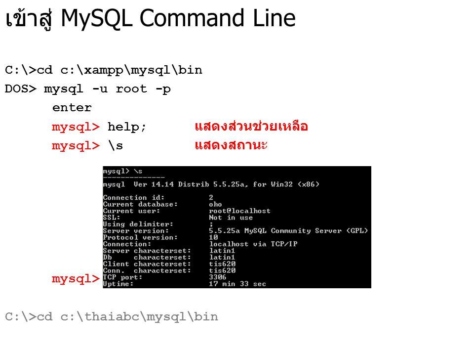 เข้าสู่ MySQL Command Line