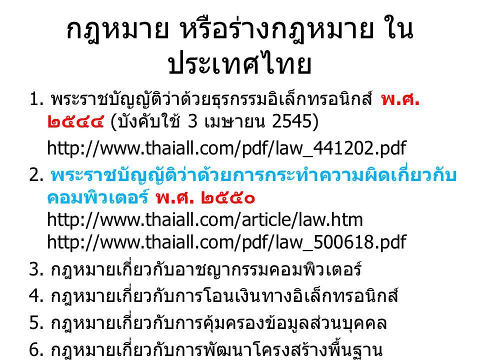 กฎหมาย หรือร่างกฎหมาย ในประเทศไทย