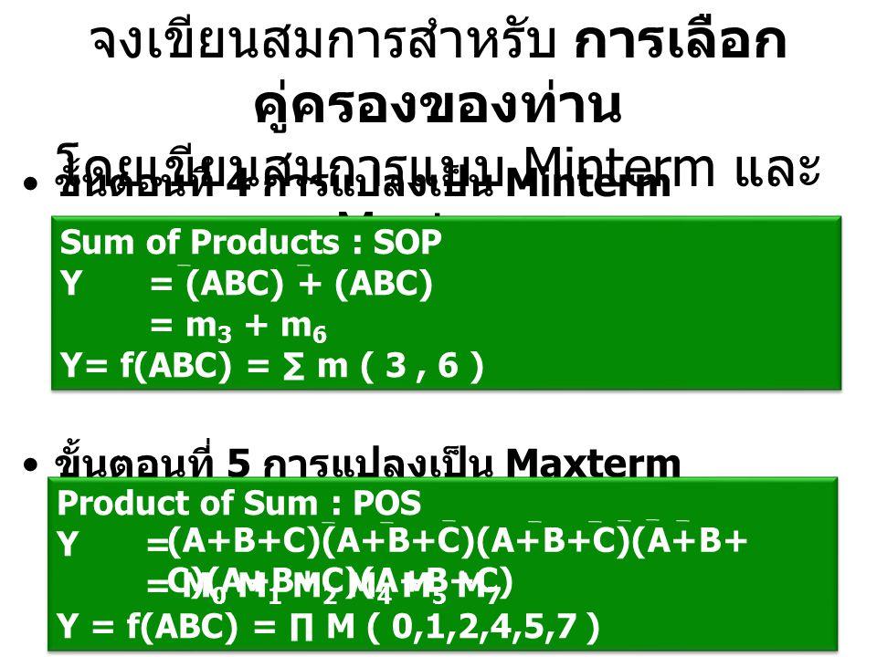 จงเขียนสมการสำหรับ การเลือกคู่ครองของท่าน โดยเขียนสมการแบบ Minterm และ Maxterm