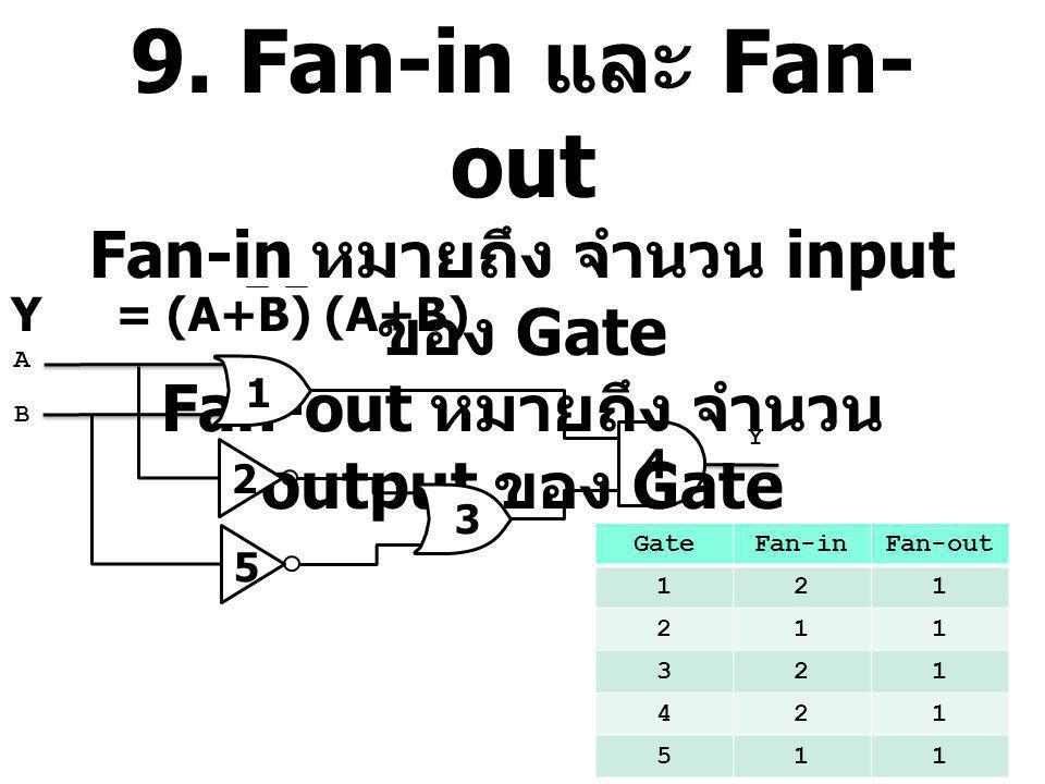 9. Fan-in และ Fan-out Fan-in หมายถึง จำนวน input ของ Gate Fan-out หมายถึง จำนวน output ของ Gate