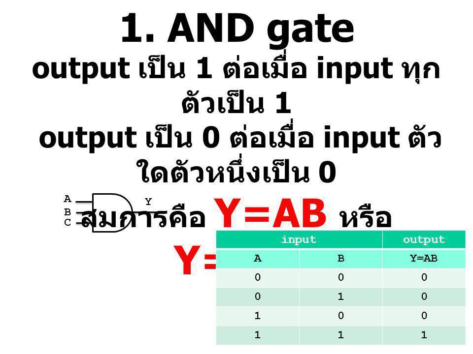 1. AND gate output เป็น 1 ต่อเมื่อ input ทุกตัวเป็น 1 output เป็น 0 ต่อเมื่อ input ตัวใดตัวหนึ่งเป็น 0 สมการคือ Y=AB หรือ Y=A.B