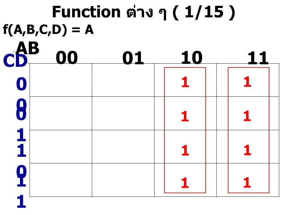 AB 00 01 10 11 CD 00 01 10 11 Function ต่าง ๆ ( 1/15 ) 1 1 1 1 1 1 1 1