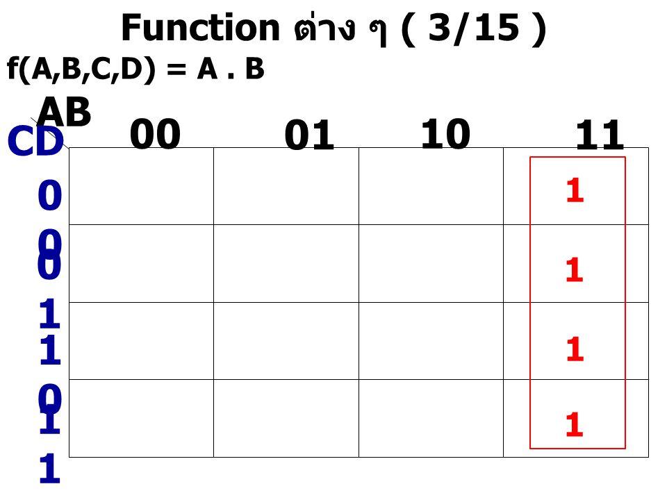 AB 00 01 10 11 CD 00 01 10 11 Function ต่าง ๆ ( 3/15 ) 1 1 1 1