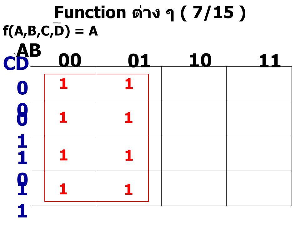 AB 00 01 10 11 CD 00 01 10 11 Function ต่าง ๆ ( 7/15 ) 1 1 1 1 1 1 1 1
