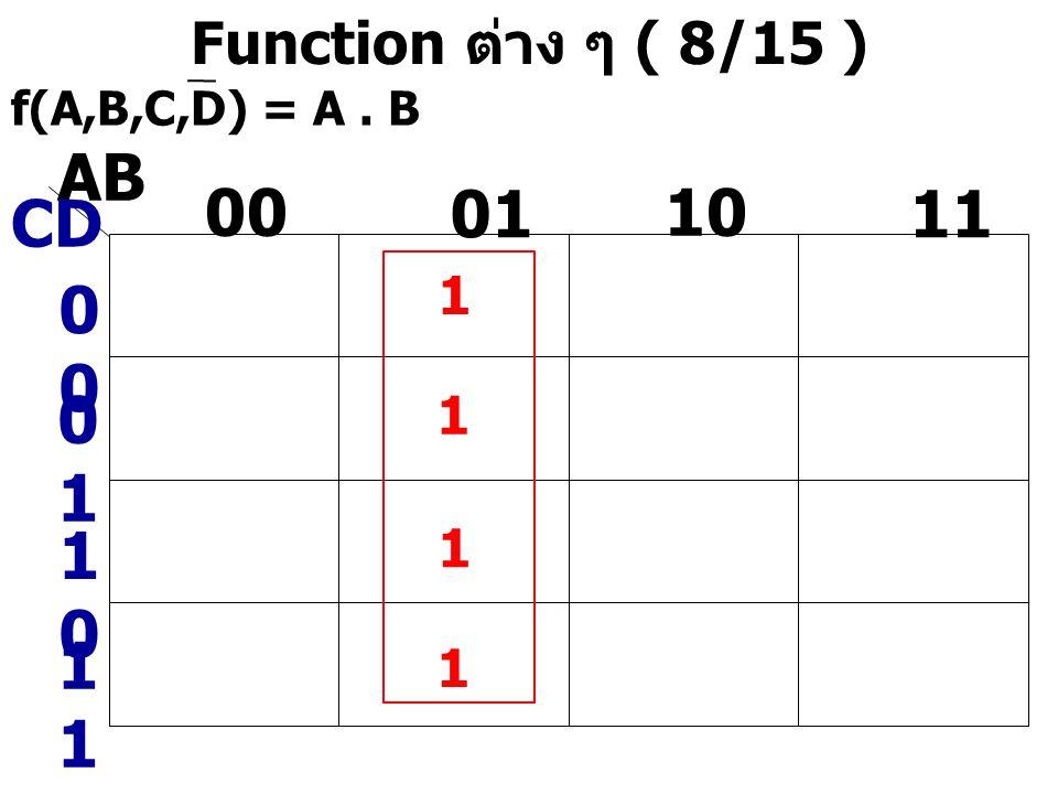 AB 00 01 10 11 CD 00 01 10 11 Function ต่าง ๆ ( 8/15 ) 1 1 1 1