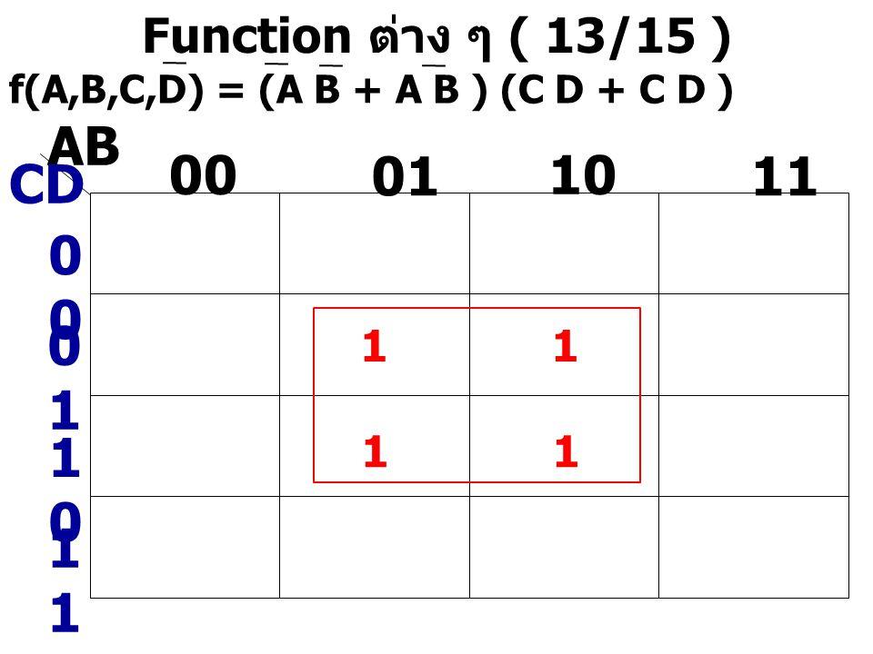 AB 00 01 10 11 CD 00 01 10 11 Function ต่าง ๆ ( 13/15 ) 1 1 1 1