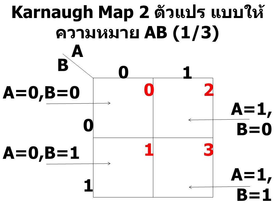 Karnaugh Map 2 ตัวแปร แบบให้ความหมาย AB (1/3)