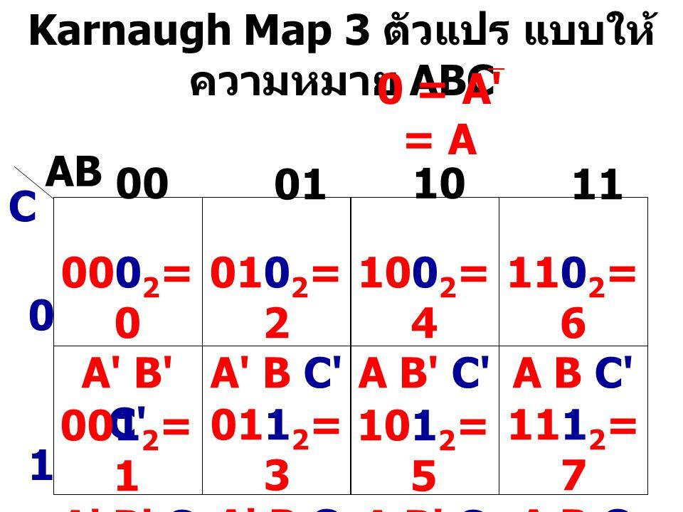 Karnaugh Map 3 ตัวแปร แบบให้ความหมาย ABC