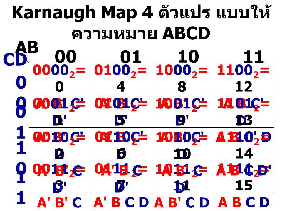 Karnaugh Map 4 ตัวแปร แบบให้ความหมาย ABCD