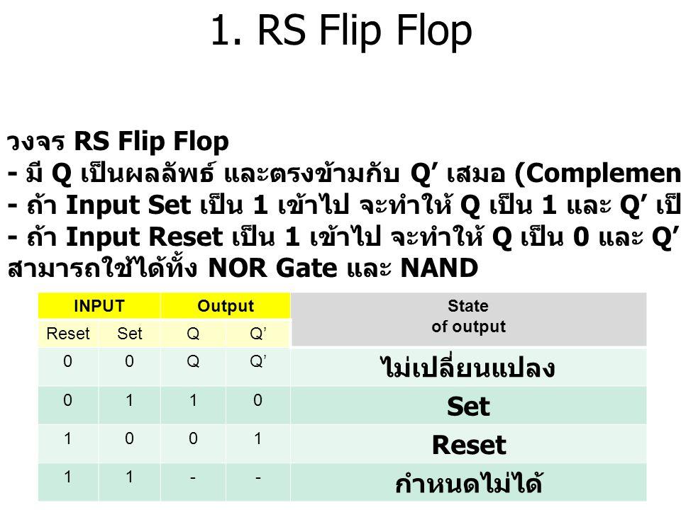 1. RS Flip Flop วงจร RS Flip Flop