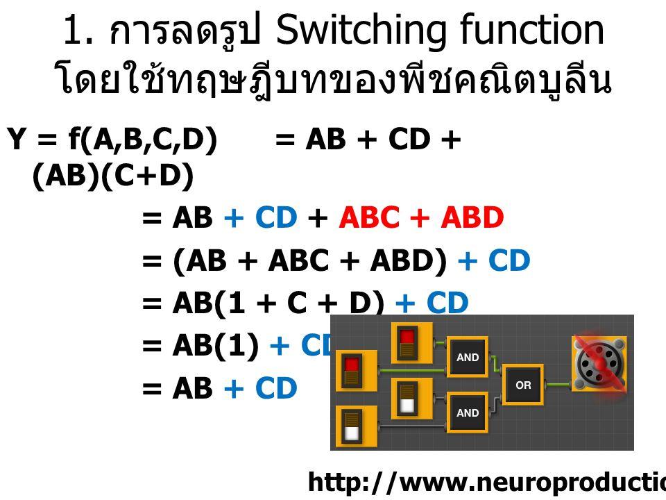 1. การลดรูป Switching function โดยใช้ทฤษฎีบทของพีชคณิตบูลีน