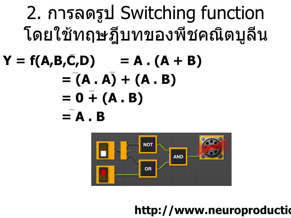 2. การลดรูป Switching function โดยใช้ทฤษฎีบทของพีชคณิตบูลีน