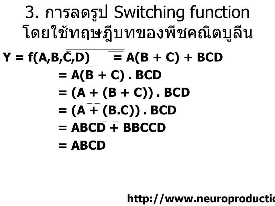 3. การลดรูป Switching function โดยใช้ทฤษฎีบทของพีชคณิตบูลีน