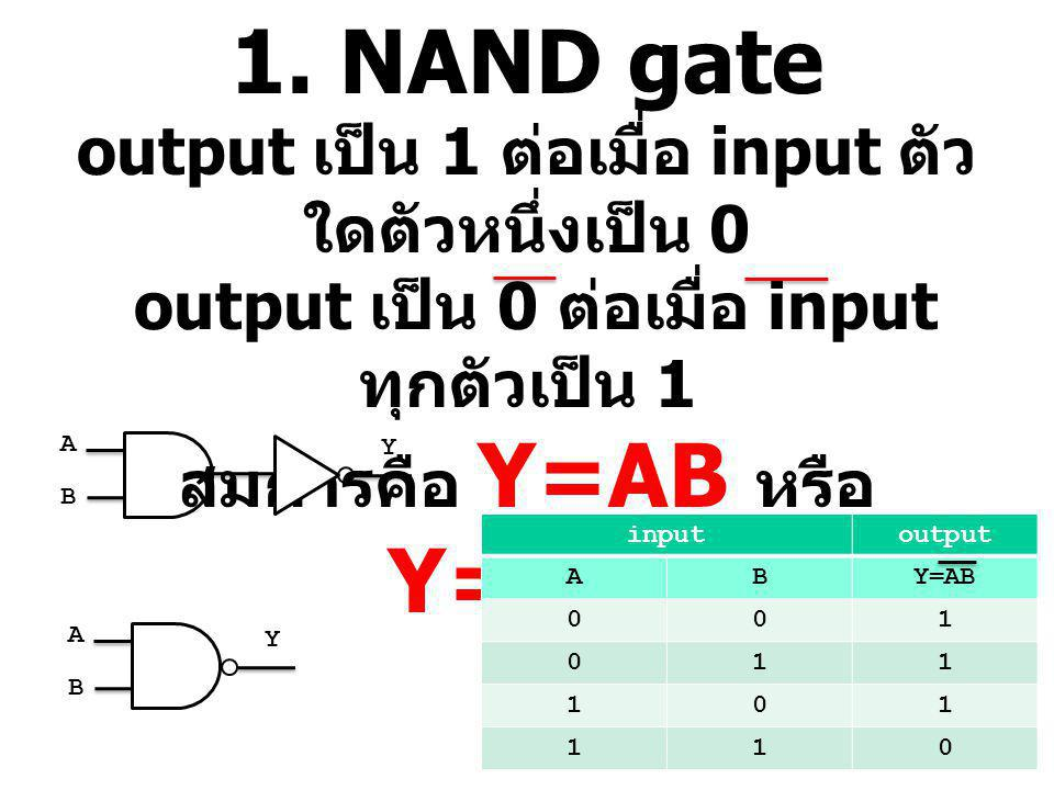 1. NAND gate output เป็น 1 ต่อเมื่อ input ตัวใดตัวหนึ่งเป็น 0 output เป็น 0 ต่อเมื่อ input ทุกตัวเป็น 1 สมการคือ Y=AB หรือ Y=A.B