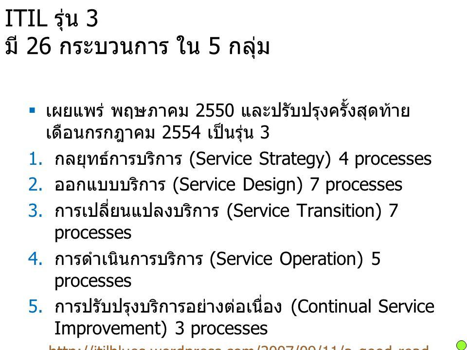 ITIL รุ่น 3 มี 26 กระบวนการ ใน 5 กลุ่ม