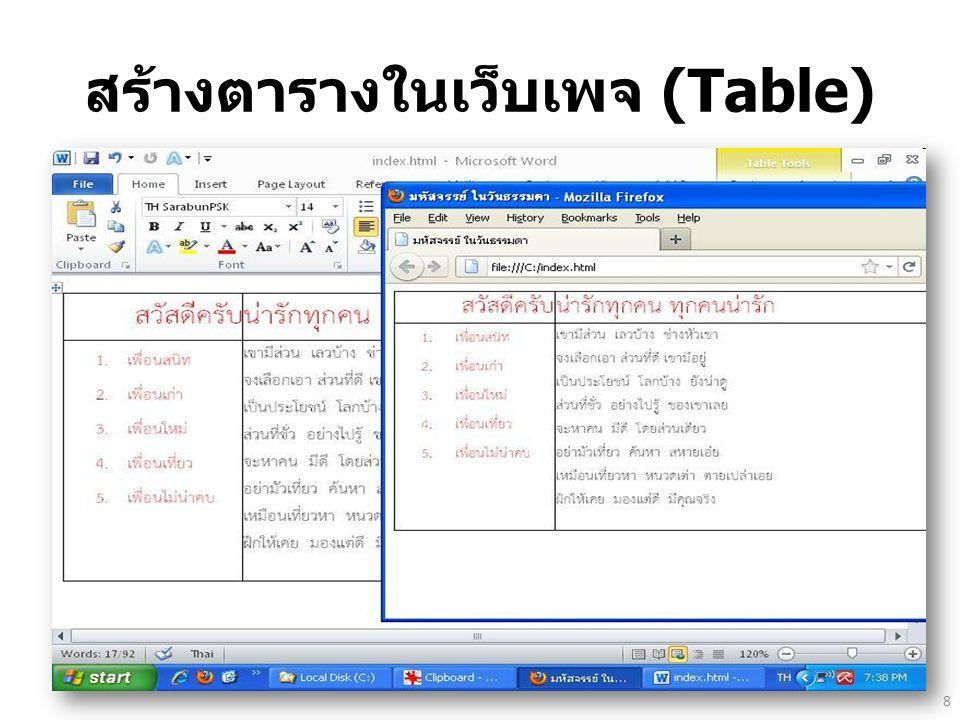 สร้างตารางในเว็บเพจ (Table)