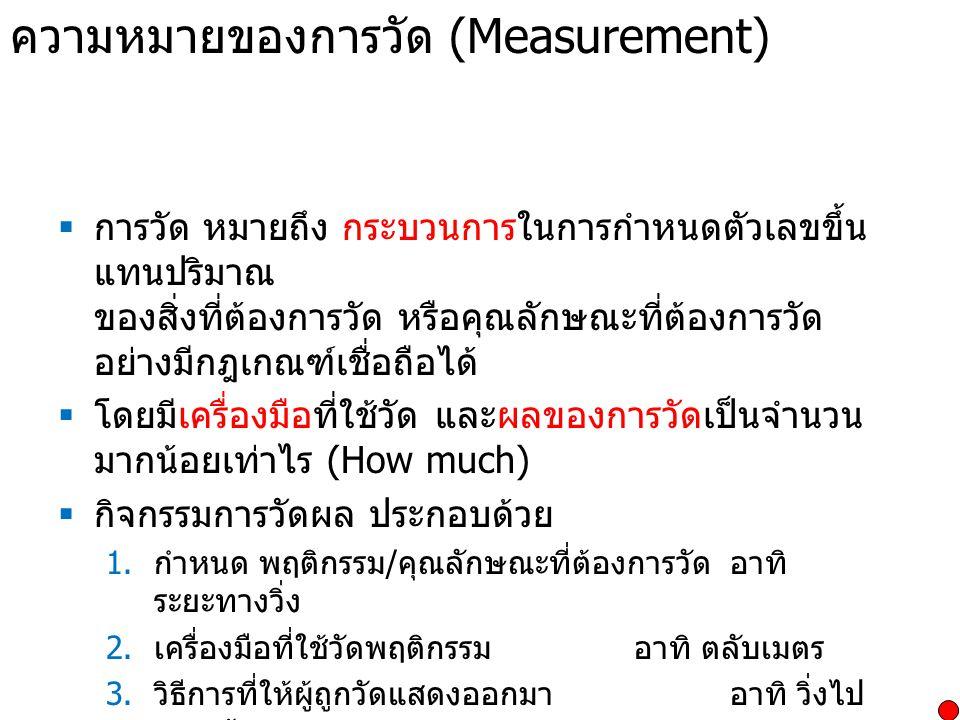 ความหมายของการวัด (Measurement)