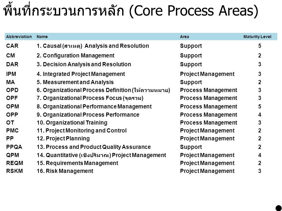 พื้นที่กระบวนการหลัก (Core Process Areas)