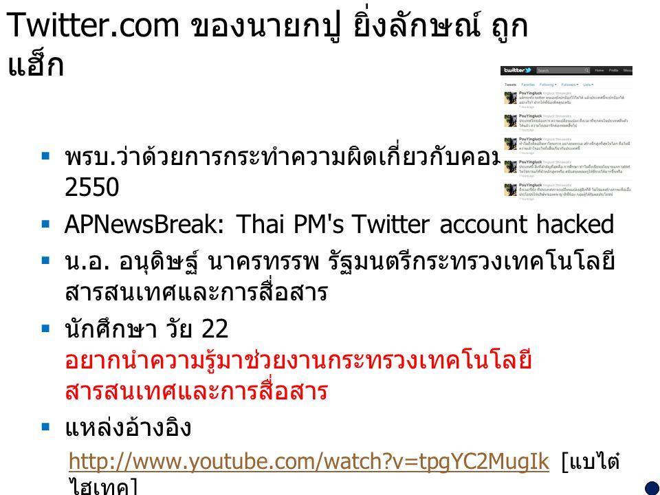 Twitter.com ของนายกปู ยิ่งลักษณ์ ถูกแฮ็ก