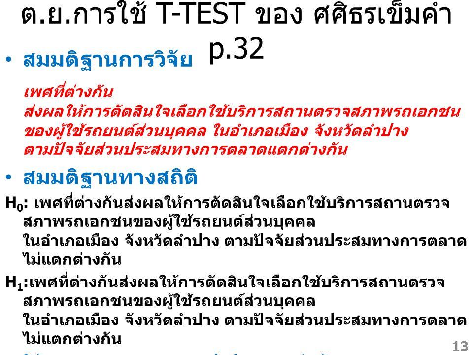 ต.ย.การใช้ T-TEST ของ ศศิธรเข็มคำ p.32