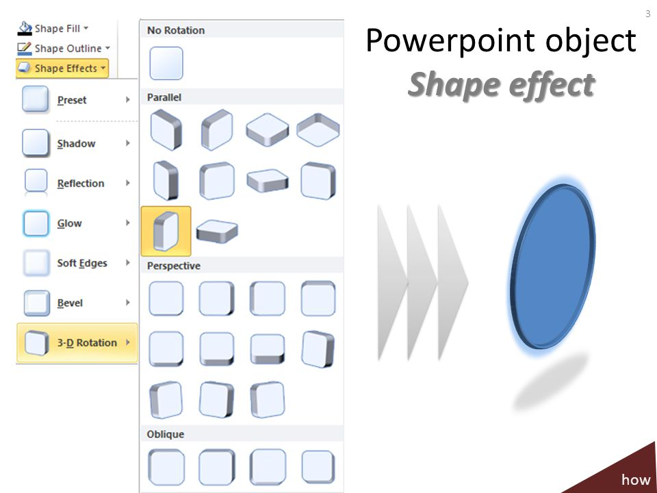 Powerpoint object Shape effect