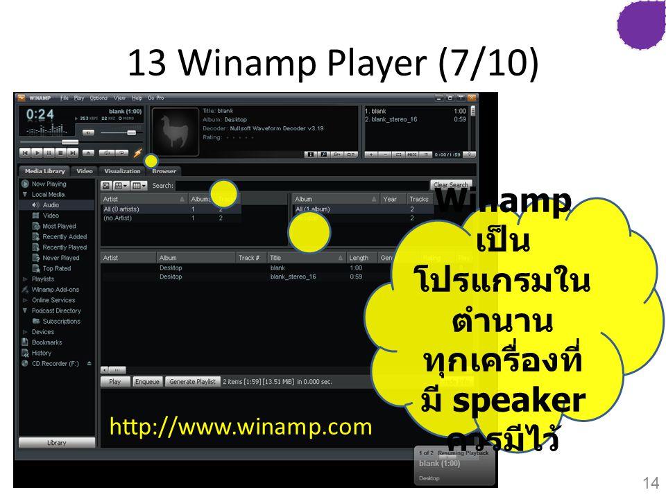 Winamp เป็นโปรแกรมในตำนาน ทุกเครื่องที่มี speaker ควรมีไว้