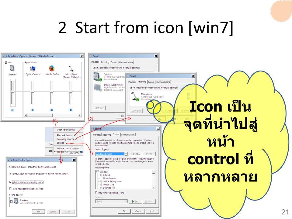Icon เป็นจุดที่นำไปสู่หน้า control ที่หลากหลาย