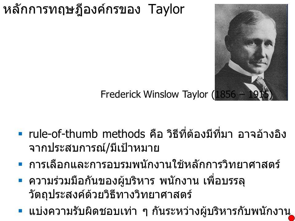หลักการทฤษฎีองค์กรของ Taylor