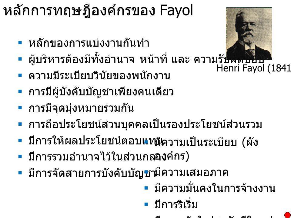 หลักการทฤษฎีองค์กรของ Fayol